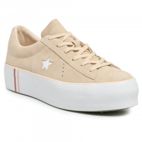 Sneakersy CONVERSE - One Star Platform Ox 565377C Light Bisque/White/White (39)