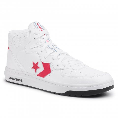 Sneakersy CONVERSE - Rival Mid 167081C White/University Red/Black (44)