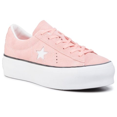 Sneakersy CONVERSE - One Star Platform Ox Bleached Coral/Black/White (41)